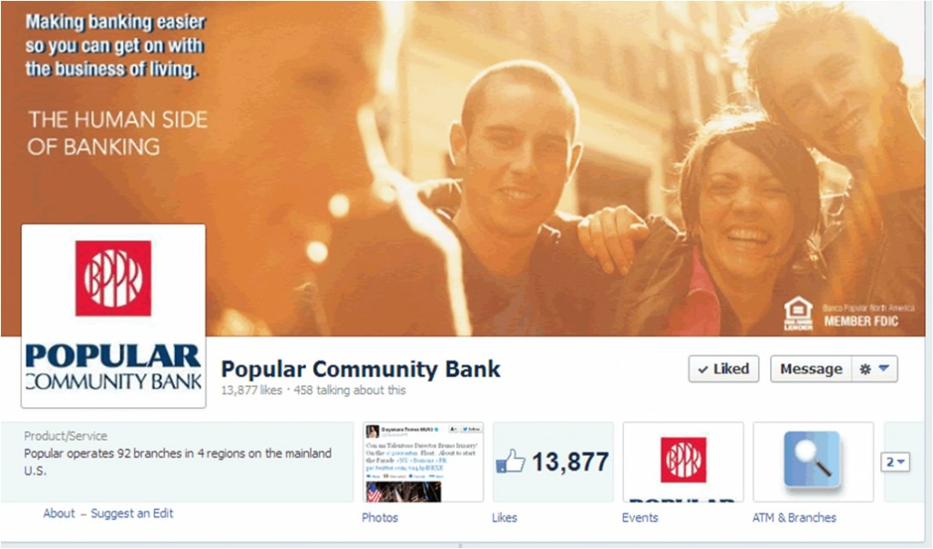 Popular Community Bank Facebook page